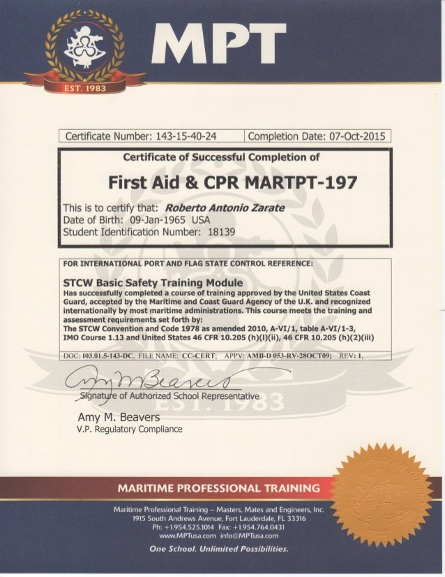 Firstaid Cpr Certificate Mpt