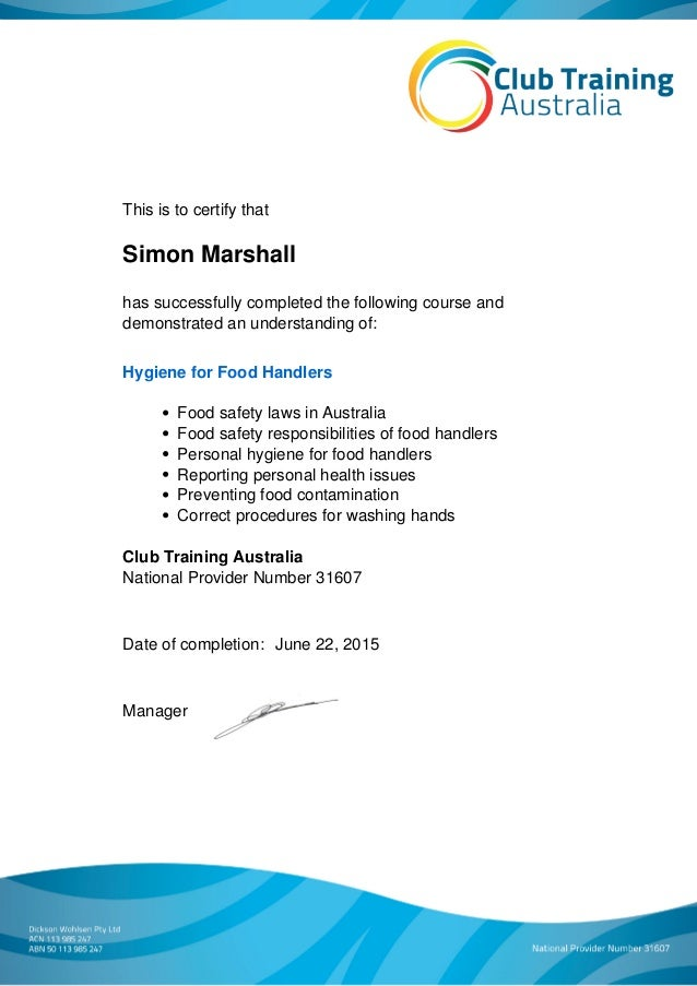 Hygiene for Food Handlers Course Certificate