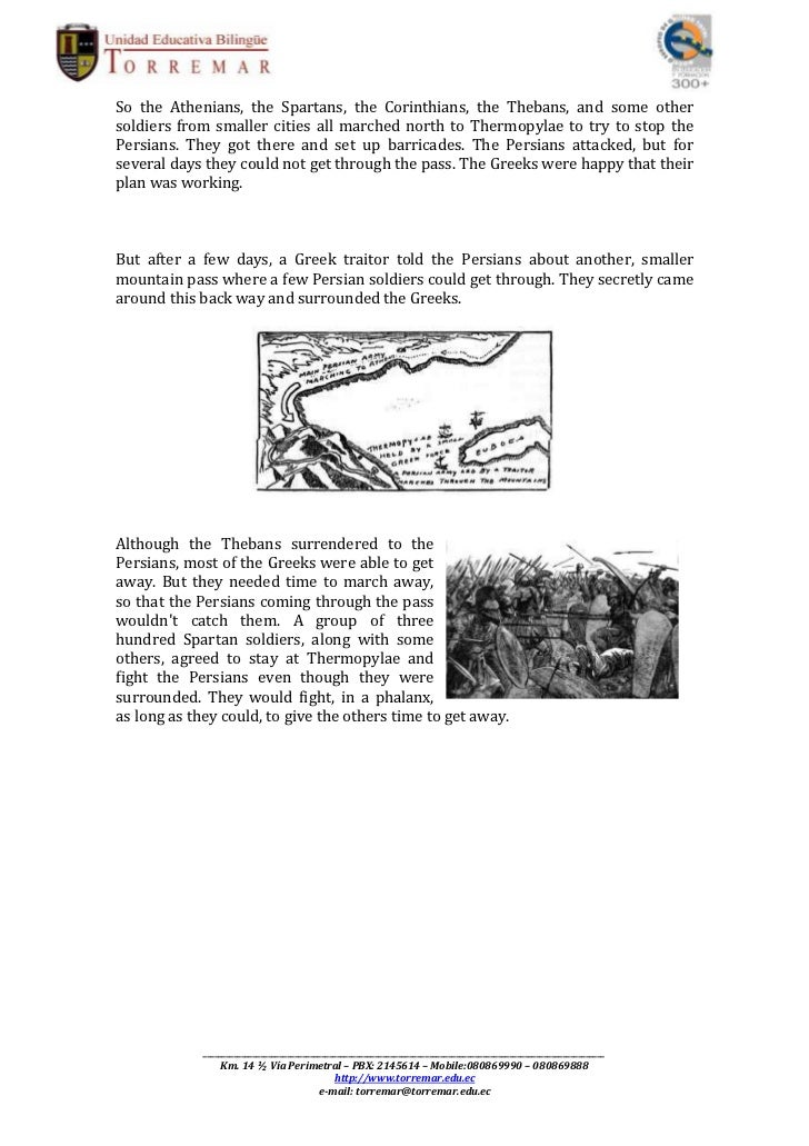 battle of thermopylae 2 essay The battle of thermopylae 2 each paper must contain a thesis statement in the introduction this is an essay about history.
