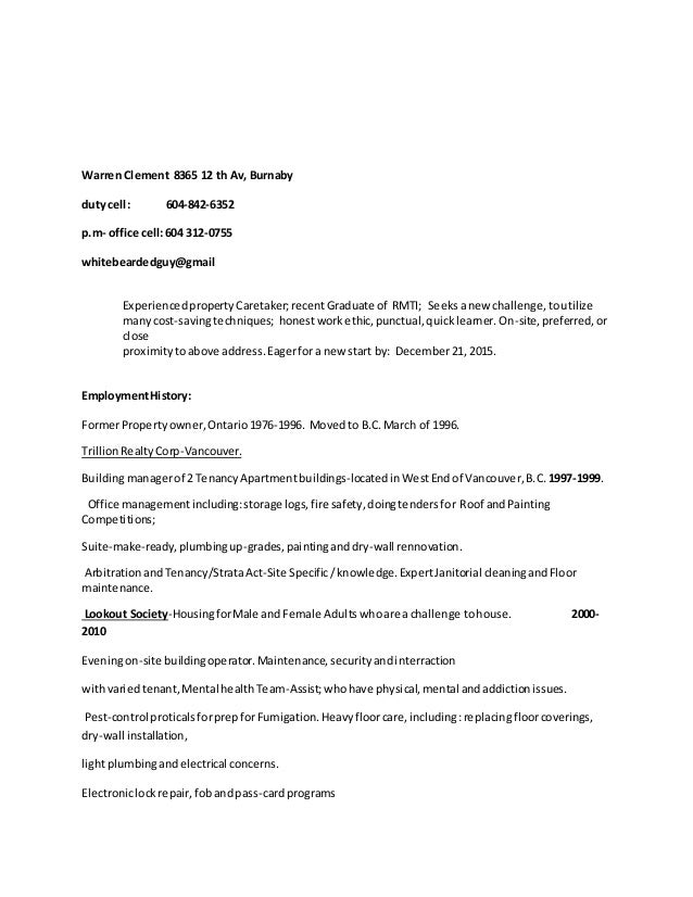 Awesome Building Manager Resume Vancouver Ideas - Best Resume ...