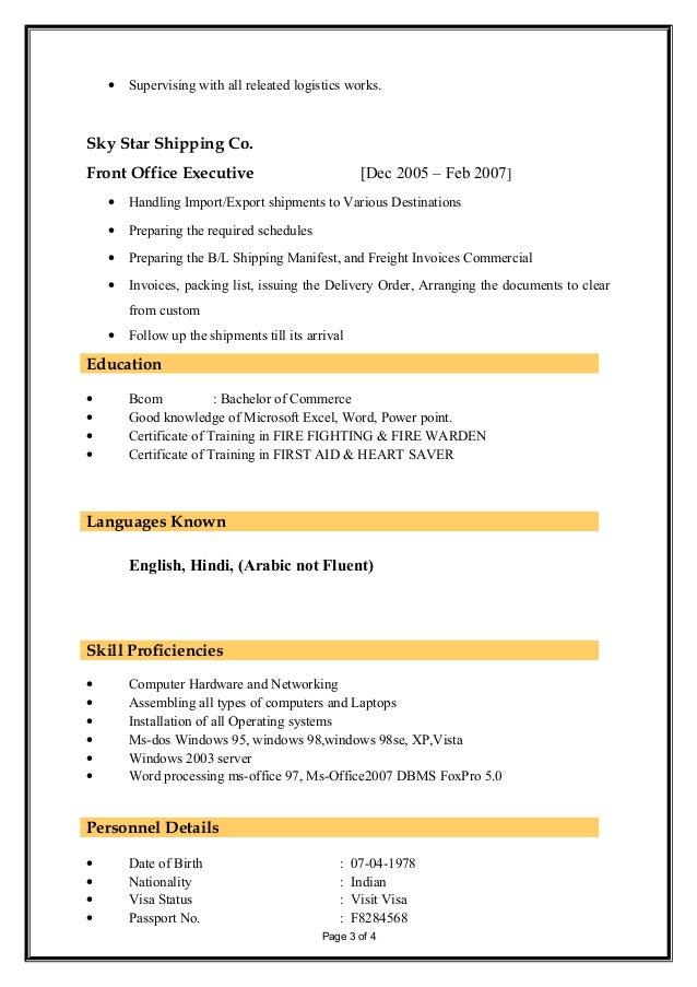 Mohammed Ashfaq Hussain Update Cv 11082014 Logistics