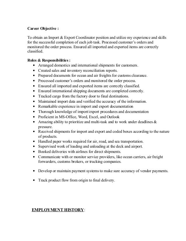 resume import  u0026 export coordinator