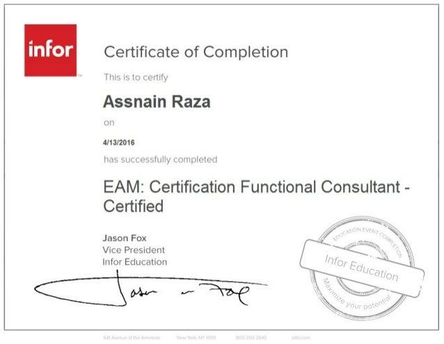EAM Certificate Functional Consultant