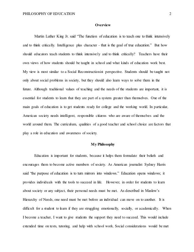 philosophy of education essay  colorado colorado springs 2 philosophy of education