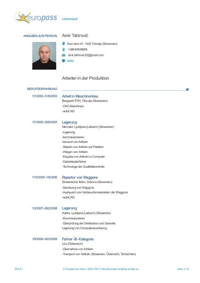 Lebenslauf ANGABEN ZUR PERSON Amir Tahirović Novi dom 47, 1420 Trbovlje (Slowenien) +38640638669 amir.tahirovic22@gmail.co...