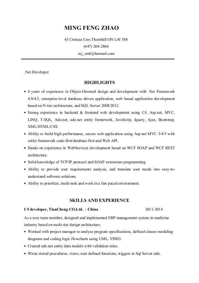 net Developer Resume(Ming Zhao)