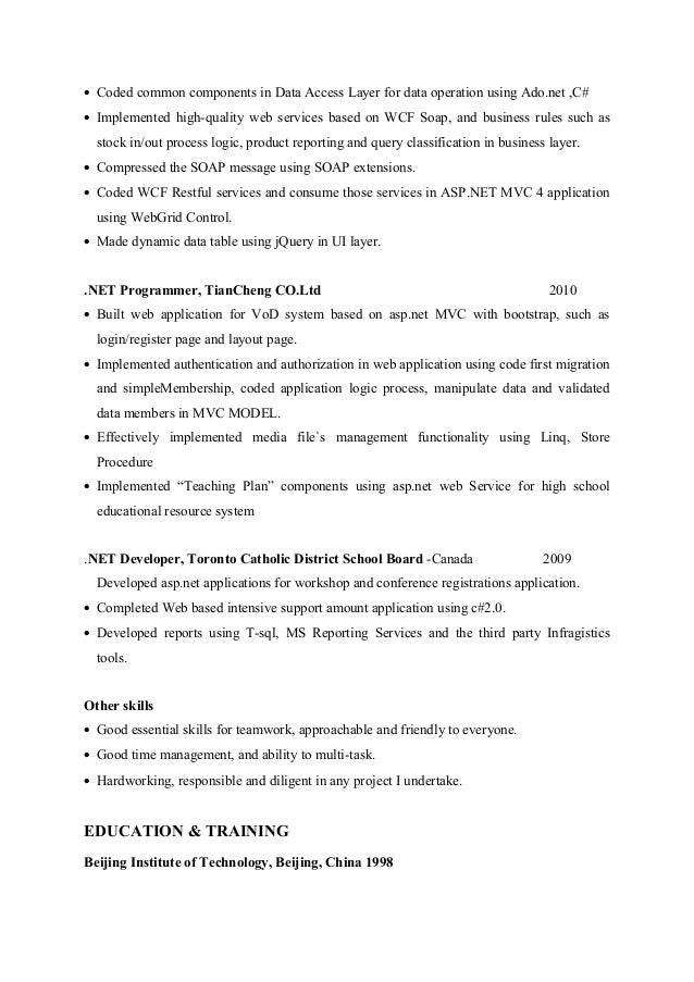 asp net web developer resume asp net resume sample software architect resume samples visualcv bizdoska com - Net Developer Resume