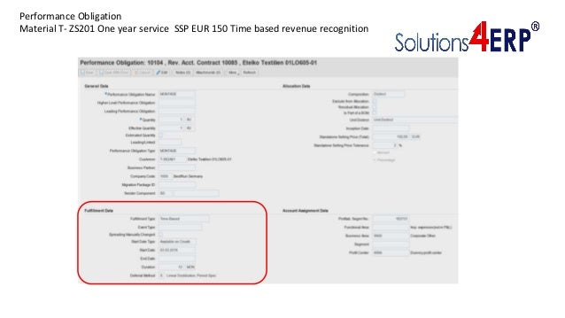 Performance Obligation Material T- ZS201 One year service SSP EUR 150 Time based revenue recognition