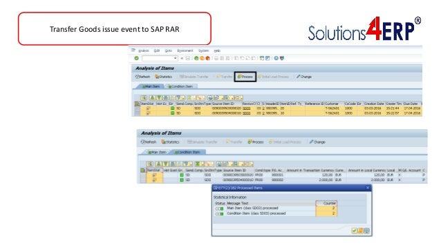 Transfer Goods issue event to SAP RAR