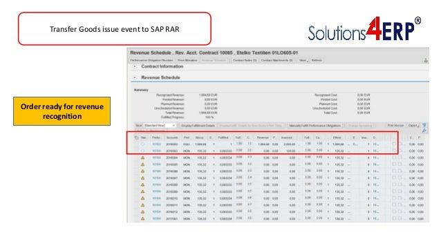 Transfer Goods issue event to SAP RAR Order ready for revenue recognition