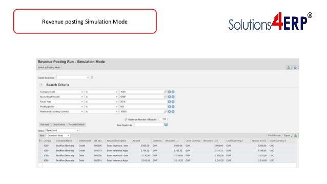 Revenue posting Simulation Mode