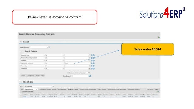 Review revenue accounting contract Sales order 16014