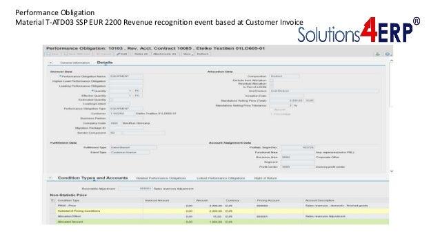 Performance Obligation Material T-ATD03 SSP EUR 2200 Revenue recognition event based at Customer Invoice