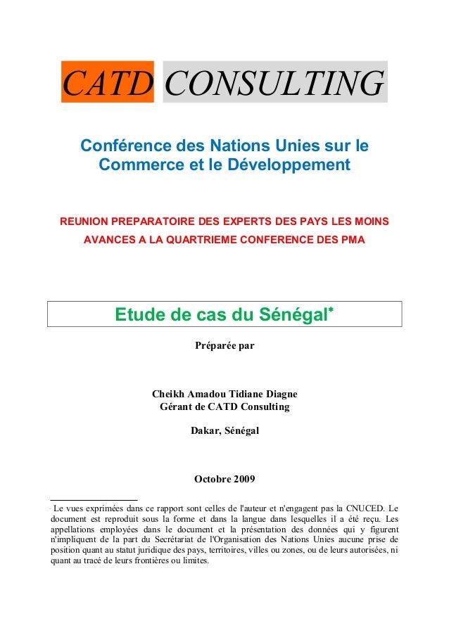 CATD CONSULTING Conférence des Nations Unies sur le Commerce et le Développement REUNION PREPARATOIRE DES EXPERTS DES PAYS...