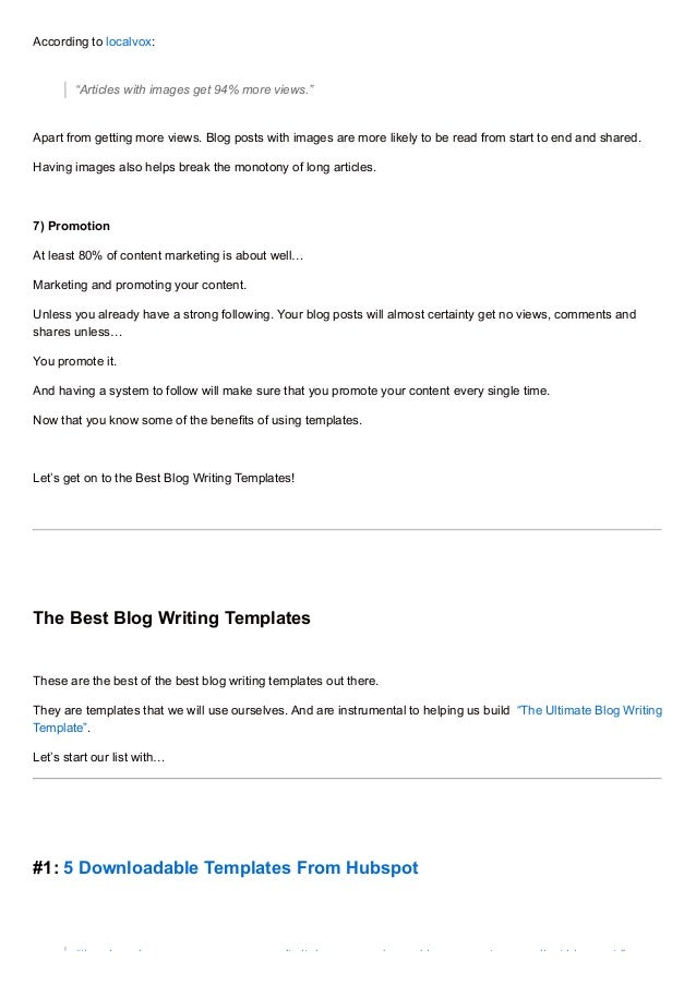 Best Blog Writing Templates - Will writing template