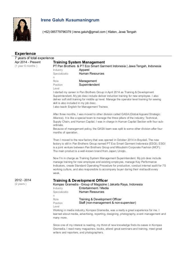 Irene Galuh Kusumaningrum_Working Experiences