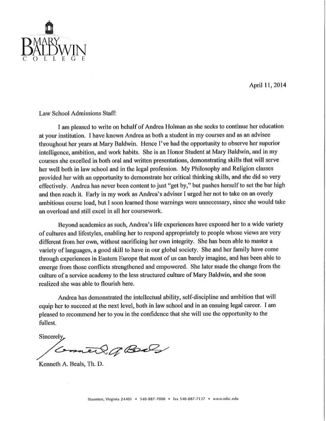 Dr Beals Recommendation Letter HOLMAN – Law School Letter of Recommendation