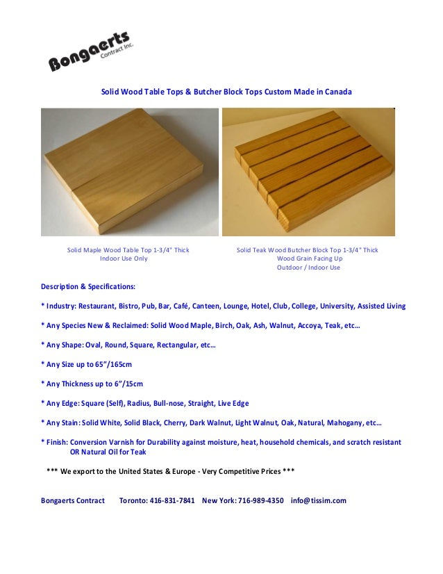 Solid Wood Table Tops Butcher Block Tops Custom Made In Canada - Custom made wood table tops
