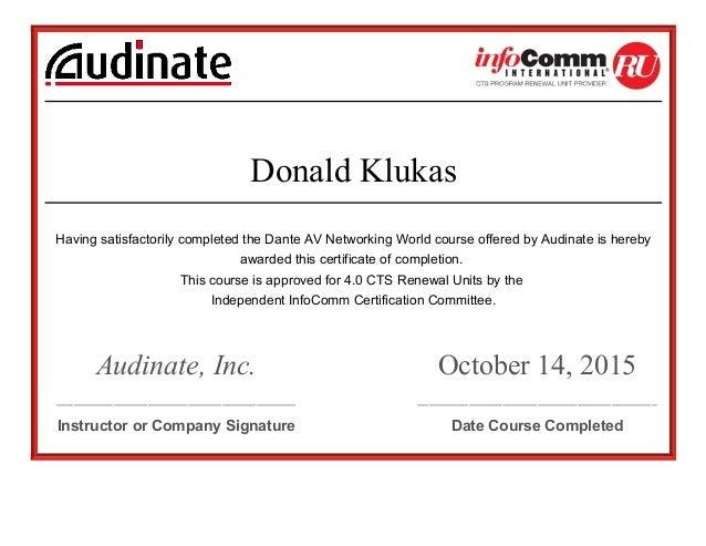 certification cts ru dante networking av slideshare completed having satisfactorily upcoming