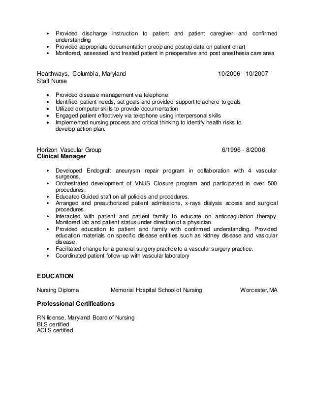 Disease Management Nurse Resume