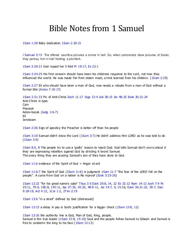 notes on 1 samuel A summary of the first book of samuel in 's bible: the old testament learn exactly what happened in this chapter, scene, or section of bible: the old testament and.