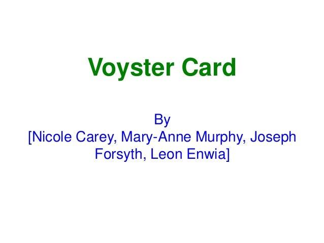 Voyster Card By [Nicole Carey, Mary-Anne Murphy, Joseph Forsyth, Leon Enwia]