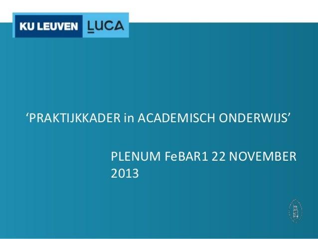 'PRAKTIJKKADER in ACADEMISCH ONDERWIJS' PLENUM FeBAR1 22 NOVEMBER 2013