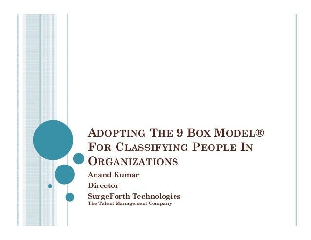 ADOPTING THE 9 BOX MODEL® FOR CLASSIFYING PEOPLE IN ORGANIZATIONS Anand Kumar Director SurgeForth Technologies The Talent ...