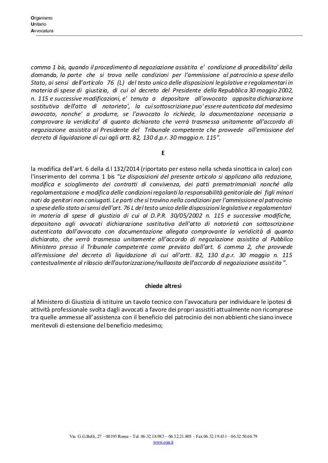 Organismo Unitario Avvocatura   comma 1 bis, quando il procedimento di negoziazione assistita e' condizione di...