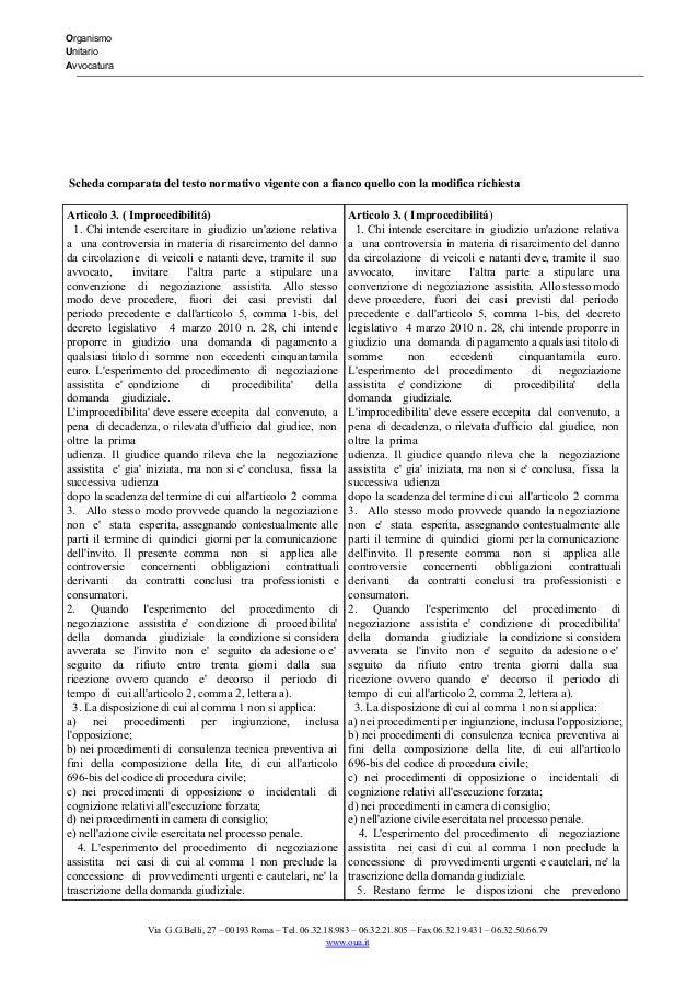 Organismo Unitario Avvocatura      Schedacomparatadeltestonormativovigenteconafiancoquelloconla...