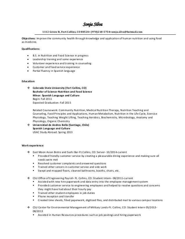 master resume - Resume Food Science Student
