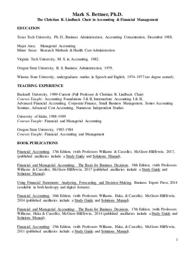 bettner cv 3 24 16 rh slideshare net Intermediate Accounting 13th Edition ISBN 9781118147290