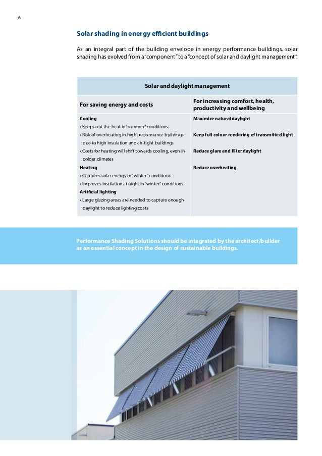 6 Solar shading in energy efficient buildings As an integral part of the building envelope in energy performance buildings, ...