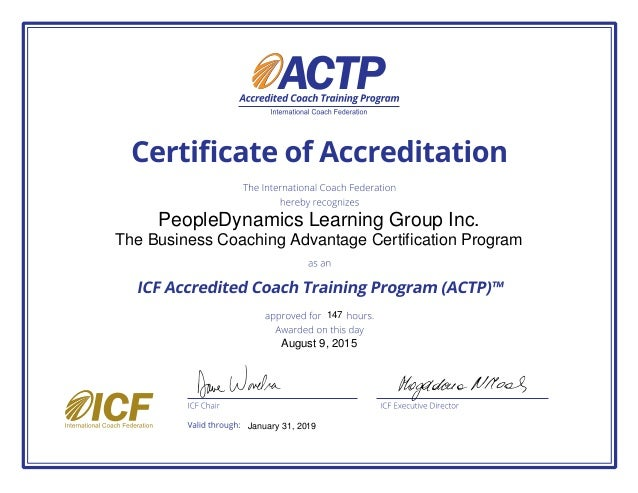 Peopledynamics Learning Group The Business Coaching Advantage Certi
