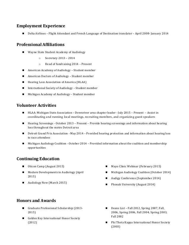Doctor of audiology resume