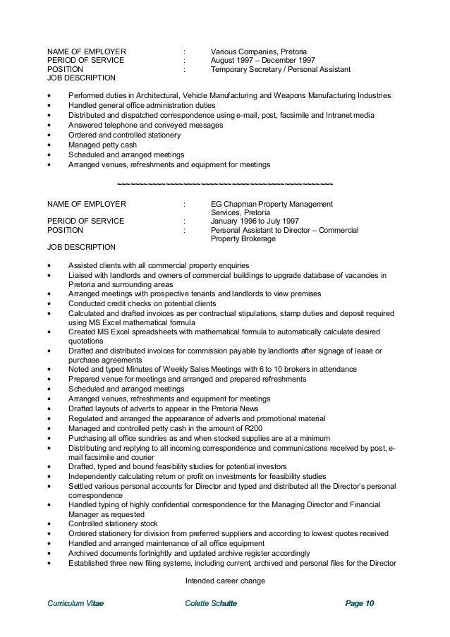 Colette CV – Personal Assistant Job Description