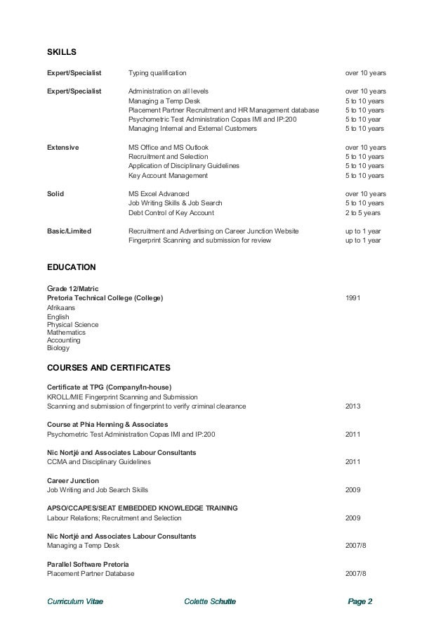 Colette cv notice period immediately available curriculum vitae colette schutte page 1 2 altavistaventures Gallery