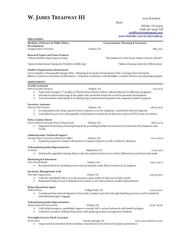 W. JAMES TREADWAY III 2025 Peachtree Road Atlanta, GA 30309 (678) 367 ...