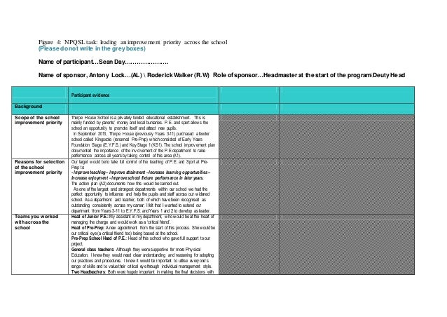 Figure 4: NPQSL task: leading an improvement priority across the school (Please do not write in the grey boxes) Name of pa...