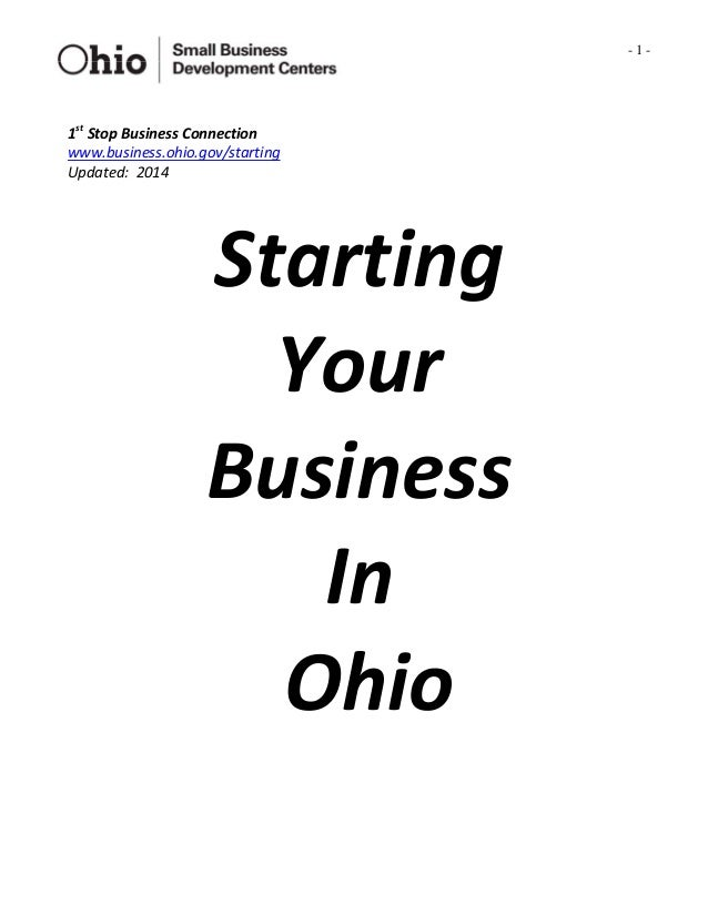 1st Stop-Starting Your Business in Ohio 2014