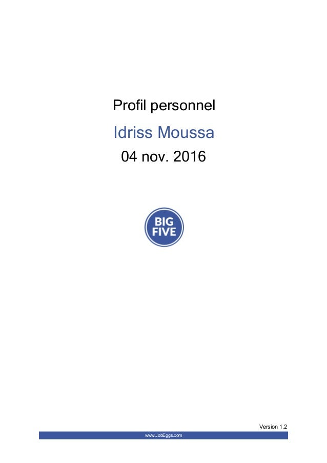 Profil personnel Idriss Moussa 04 nov. 2016 www.JobEggs.com Version 1.2