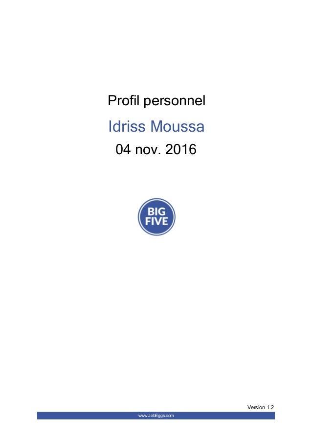 Profilpersonnel IdrissMoussa 04nov.2016 www.JobEggs.com Version1.2