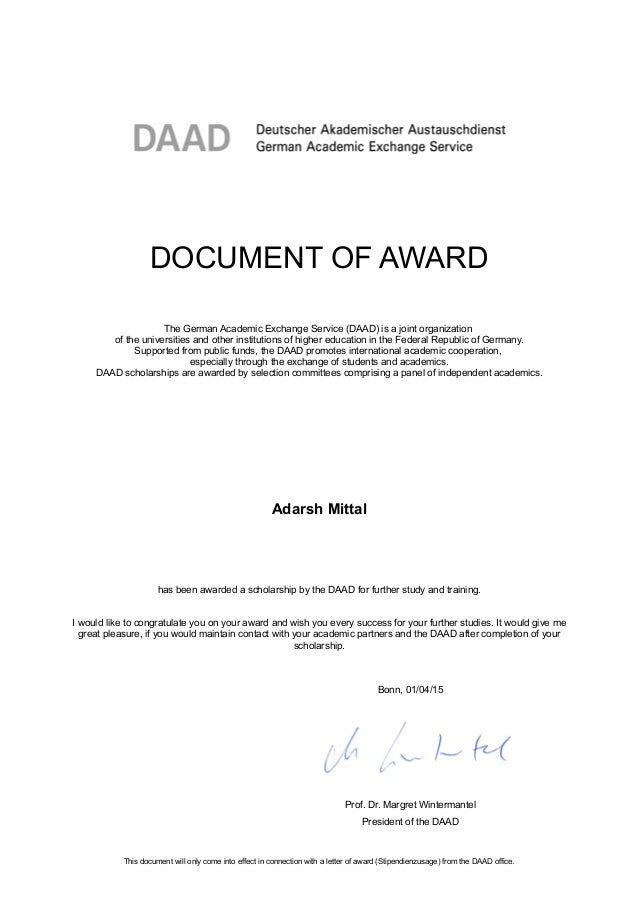 Daad scholarship award casino zodiac document of award the german academic exchange service daad is a joint organization of spiritdancerdesigns Images