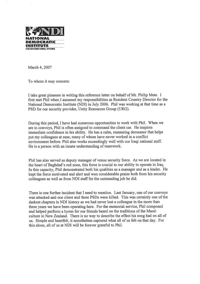 character letter of reference ndi country manager