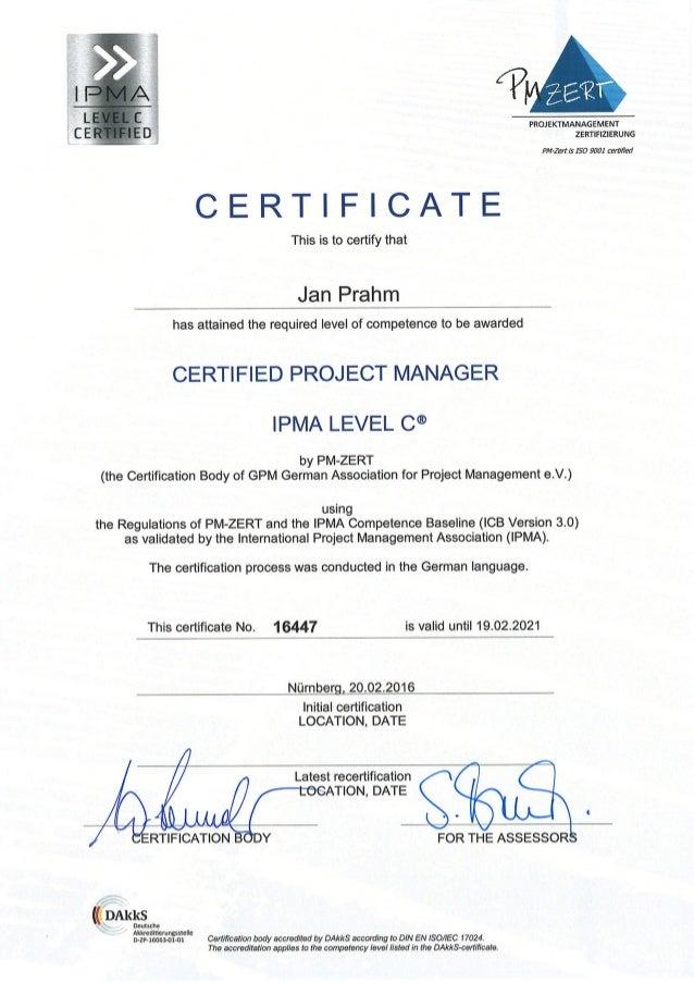 Certificate Ipma Level C Jan Prahm English