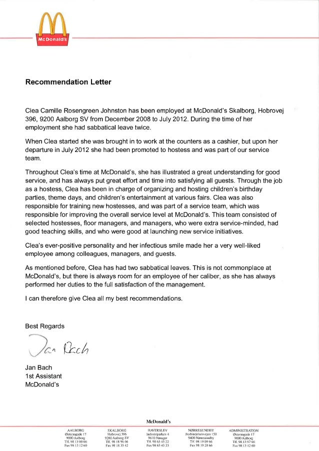 Recommondation Letter From Mcdonalds