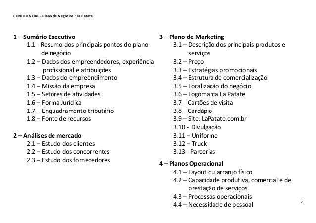 plano de negócio empresa la patate_20152 confidencial plano de negócios