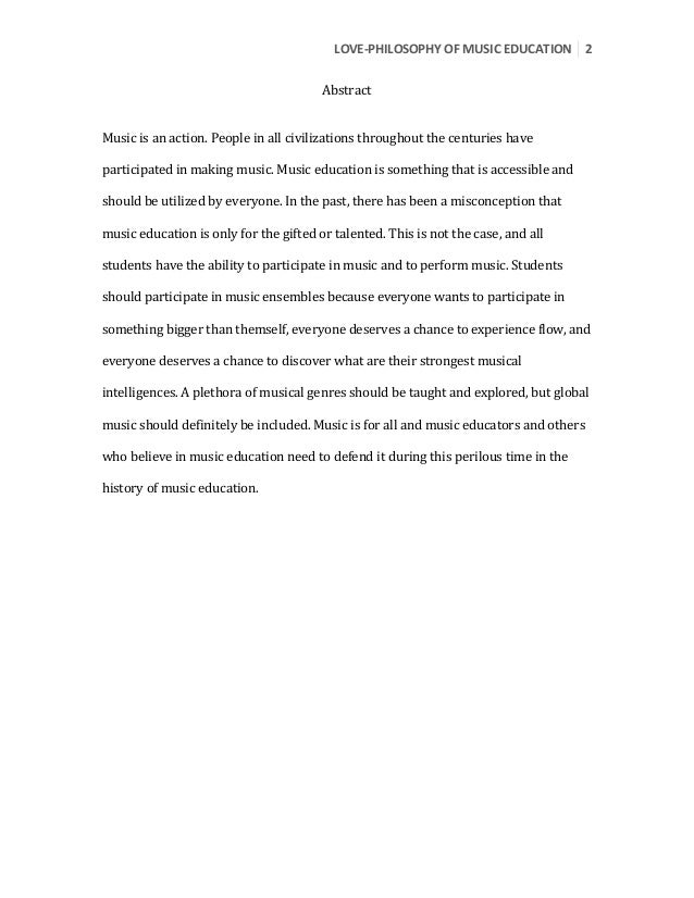 shelby love philosophy of education paper 2 love 8208philosophy of music education