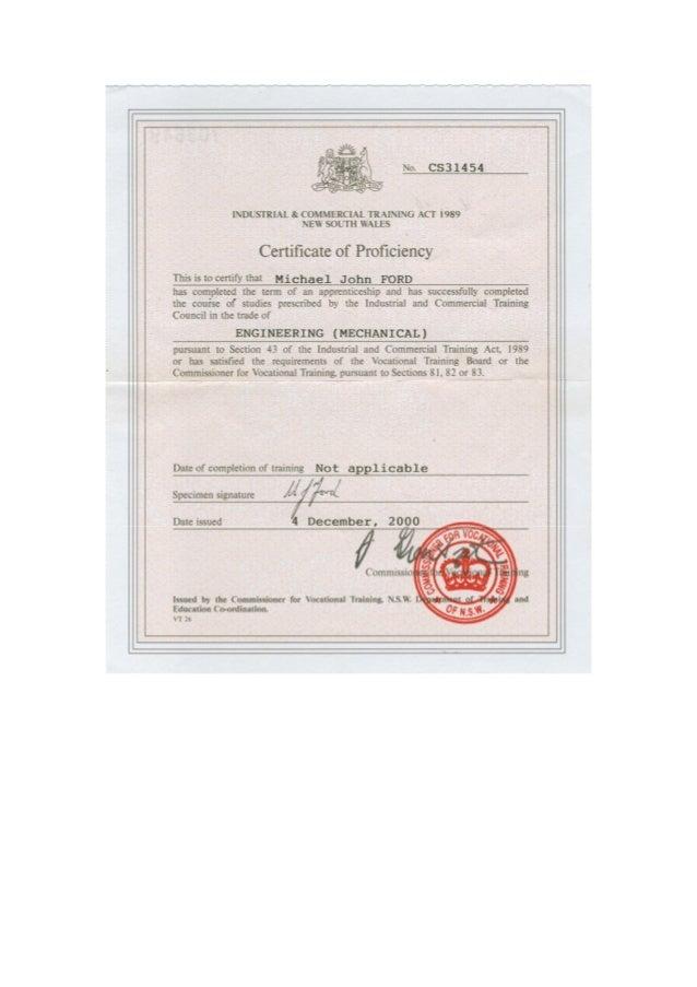Certificate Of Proficiency Engineering Mechanical