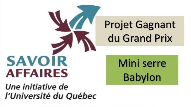 Projet Gagnant du Grand Prix Mini serre Babylon